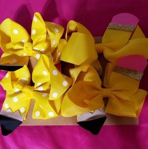 Four Pack Yellow Pencil Hair Bows